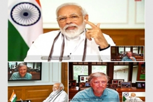 Honourable PM interacted with Mr. Bill Gates on the global response to COVID-19 through NIC Video Conferencing