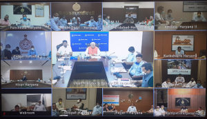 Honorable Chief Minister, Haryana taking review with all DCs