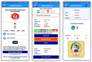 Screen shots of Himachal Covid Care Mobile App